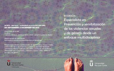 Abierta la inscripción del Título Propio Especialista en Prevención y Sensibilización de las Violencias Sexuales y de Género desde un Enfoque Multidisciplinar para el curso 2021/2022