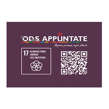Logotipo ODS Appuntate y logotipo Objetivo de Desarrollo Sostenible 17 Alianzas para lograr los objetivos
